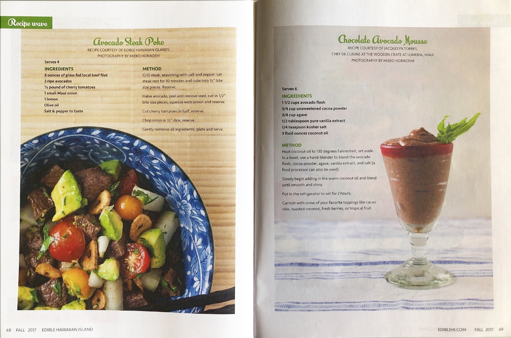 Editorial Assignments for Edible Hawaiian Islands Magazine Fall Issue 2017