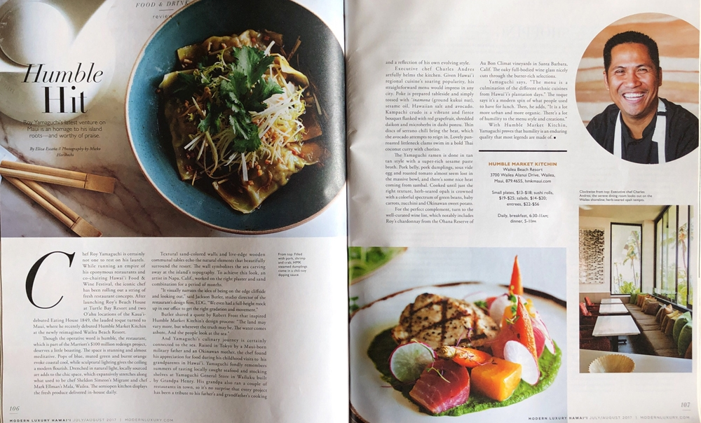 Editorial Assignment for Modern Luxury Hawaii - Humble Market Kitchin, Wailea Maui